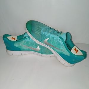 Nike Free Run Jade Aqua Volt Running Shoes 8.5